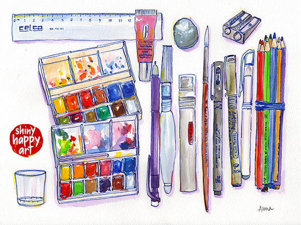 My travel art supplies kit in a watercolour painting.