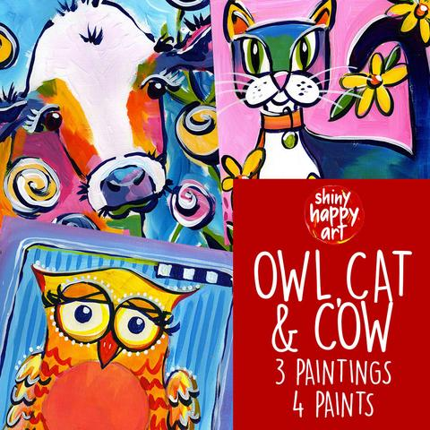 OWL CAT AND COW