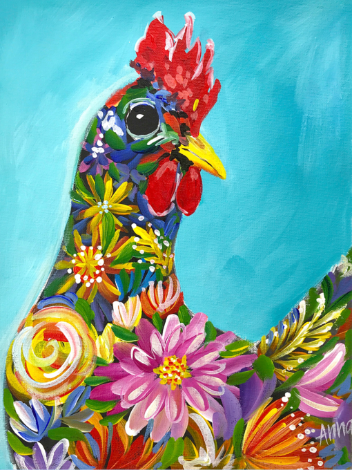Flora the Chook Paint Along