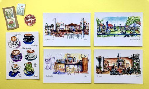 5 designs of coffee postcards